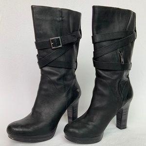 Ugg Jardin Leather Strap High Heel Boots Sz 8.5